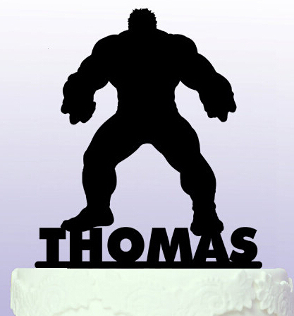 Acrylic Personalised Name Hulk Superhero Cake Topper Birthday Cake