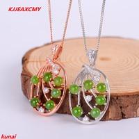 KJJEAXCMY boutique jewels 925 silver Natural green jade pendant necklace send female tassel bgglnm usdf