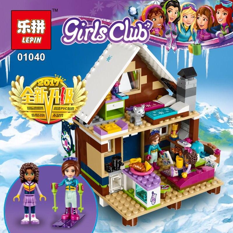 Лепин 01040 девушки снега Resort шале комплект модель строительных блоков Кирпичи детей игрушки подарки игрушки Совместимо с lego 41323 друзей