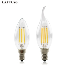 LED Filament Bulb E14 Retro Edison Lamp 220V 2W 4W 6W Vintage C35 Candle Light Ampoule Lighting COB Home Decor led edison lamp c35 e14 led candle light filament retro clear lamp 2w 4w 6w 220v 240v cold warm white for chandelier
