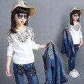 4-14 años de Primavera otoño Estilo pequeña flor Niñas ropa conjunto chaqueta de Mezclilla + t-shirt + Jean pant 3 unidades set cowboy 2 unids traje