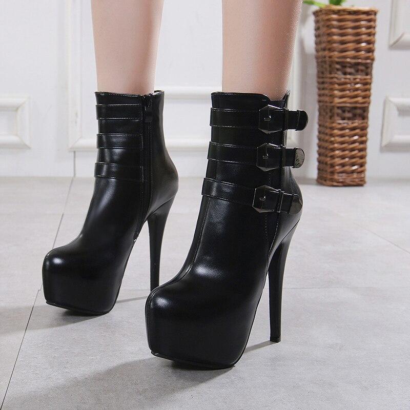 Señoras Moda Tacones Tobillo Mujer Zapatos Zipper Calidad Hebilla Talón Invierno Pu Fino Negro Diseñado Alta Altos Botas ZqU4pzqYg