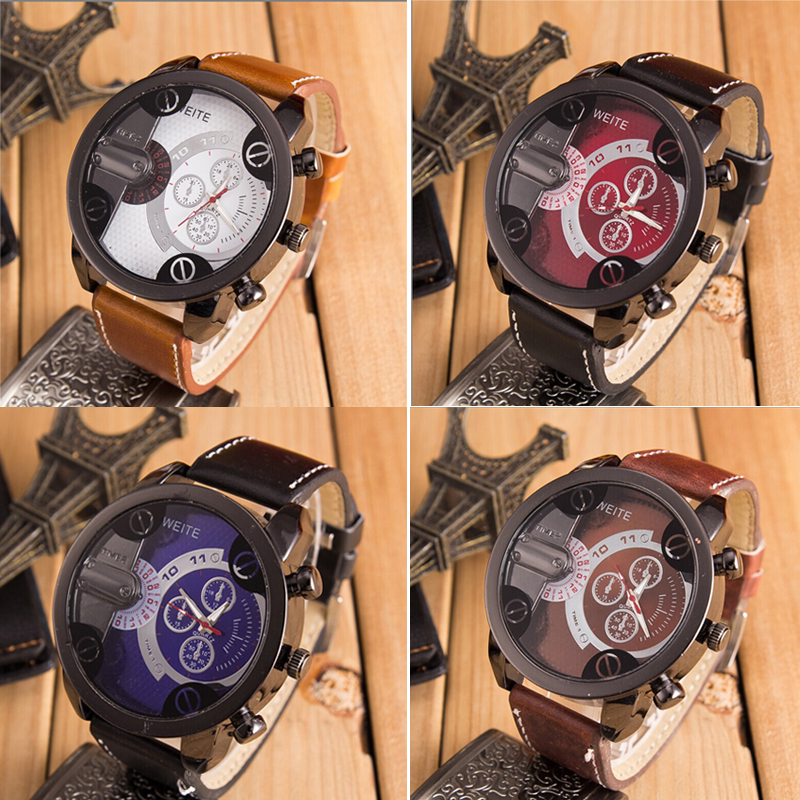 2020 Fashion Luxury Mens Watchs Analog Sport Steel Case Quartz Leather Wrist Watch Relojes De Marca