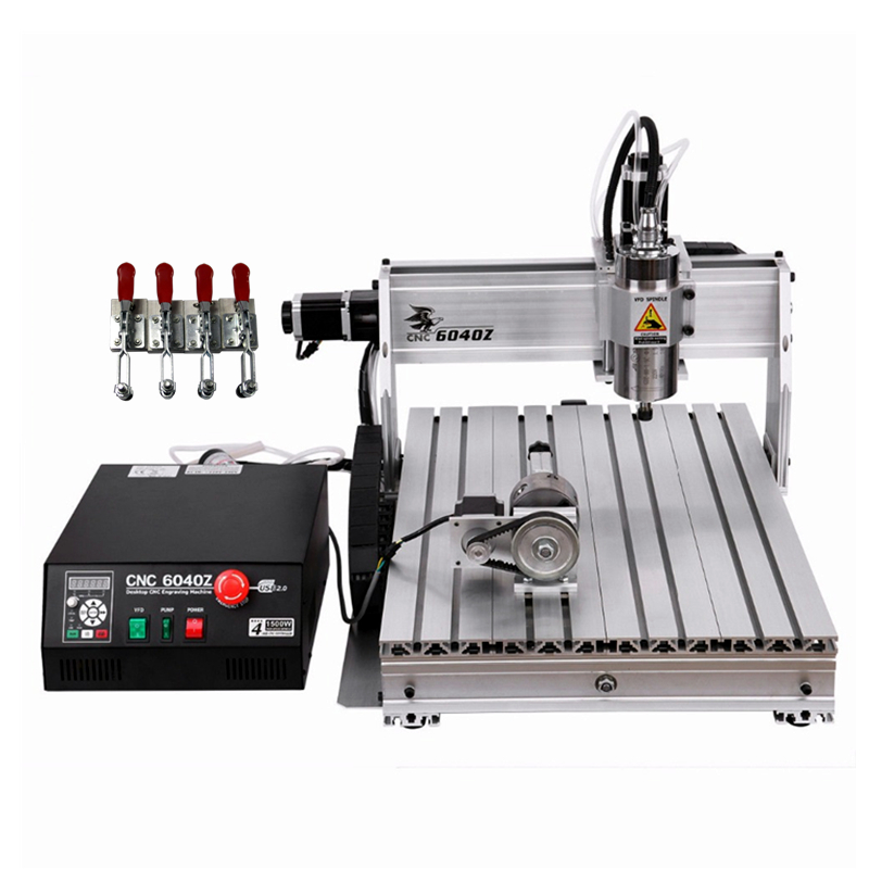 800W spindle metal engraver 4axis LPT port cnc wood router 6040 milling machine with limit switch cutter collet clamp vise 800W spindle metal engraver 4axis LPT port cnc wood router 6040 milling machine with limit switch cutter collet clamp vise