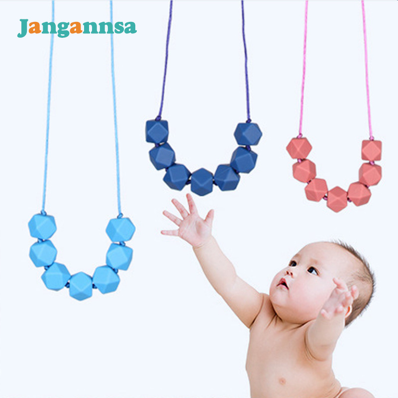 02444ca9bc2bb Fashion Soft Baby Teething Necklace Food Grade Silicone Baby Teether Mom  Wear Boys Girls Bite Toys Jewelry Chewable Teether-in Baby Teethers from  Mother ...
