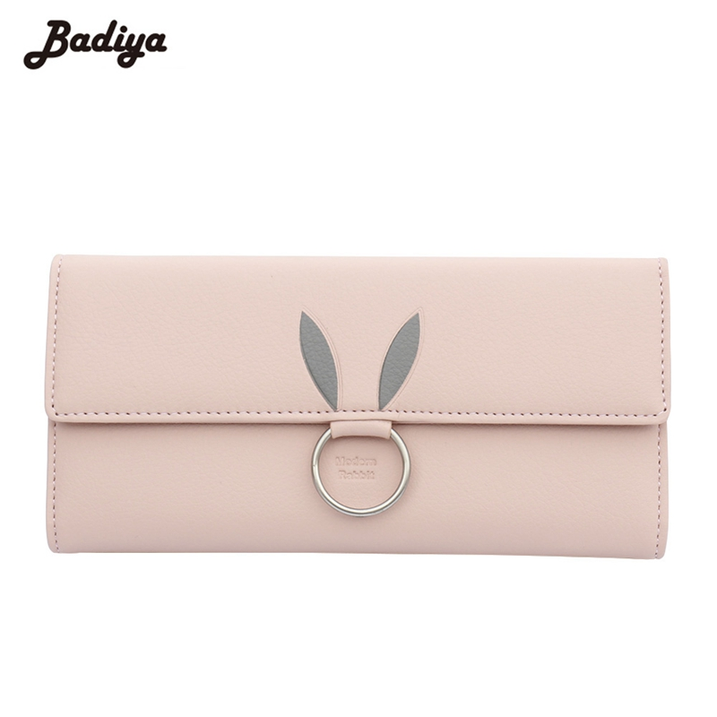 New Women Wallet Cute Rabbit Pattern Purses With Ring Charms Hasp Zipper Pockets Phone Purses Money Cards Slots Female Wallets