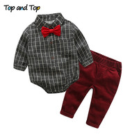 Top And Top New Spring Boys Gentleman Clothing Sets Plaid T Shirt Jeans 2Pcs Set Kids