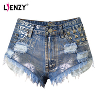 LIENZY American Appeal Summer Vintage Punk Women Short Jeans Silver Diamonds Rivet Ripped Tumblr Hot Denim