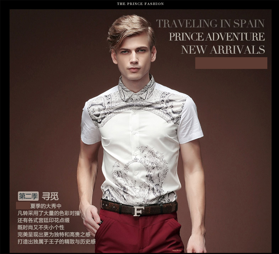 04f735941a9 Details about FANZHUAN Men s Shirt Character Print Summer Short Sleeve Men s  Dress Shirt
