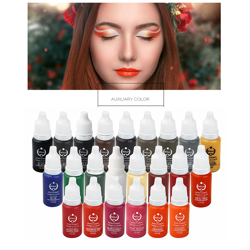 23Pcs Permanent Makeup Pigment 15Ml Ink Cosmetic 23 Color Tattoo Ink Set Paint For Microblading Eyebrow Lip Body Makeup