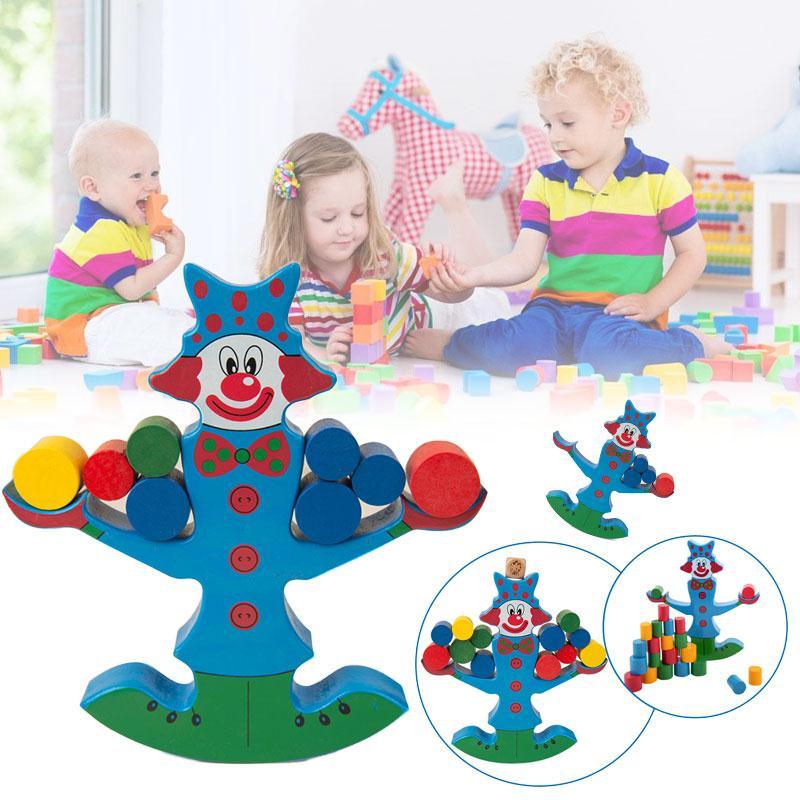Clown Balance Beam Wooden Balance Building Blocks Montessori Clown Training Balancing Toys For Children Early Educational Toys