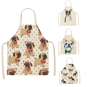 1 Pcs Cotton Linen BullDog Dog Print Kitchen Aprons Unisex Dinner Party Cooking Bib Funny Pinafore Cleaning Apron(China)
