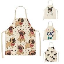 1 pçs algodão linho bulldog cachorro impressão cozinha aventais unissex jantar festa cozinhar bib engraçado pinafore avental de limpeza