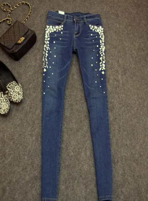 placeholder New women skinny jeans denim pants diamonds rhinestones jeans  stretch long jeans 98649576cf4c