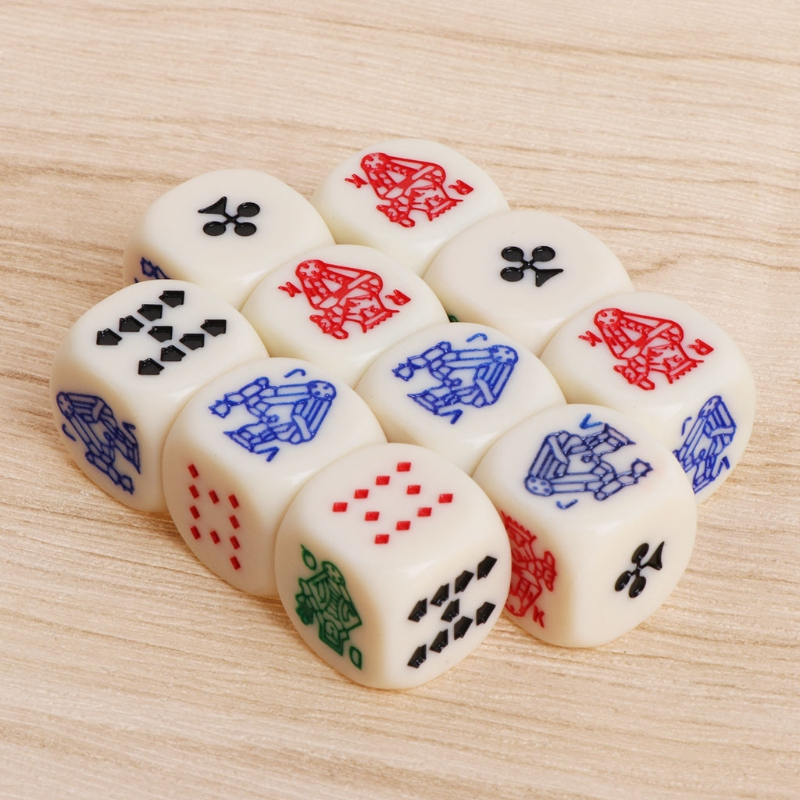 10 Pcs/set 16mm Six Sides Dice Multicolor Acrylic Cube Dice Beads Portable Table Games Toy