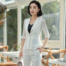 Business Women Pencil Pant Suits Summer 2 Piece Sets Black White Blazer+Pant Office Lady Notched Jacket Female Outfits 4XL 5XL