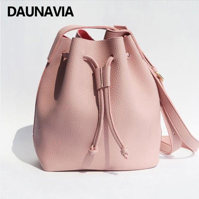 Daunavia S Cute Korean Bag Bucket Leather Shoulder Sling For Women Drawstring Handbags Las Small