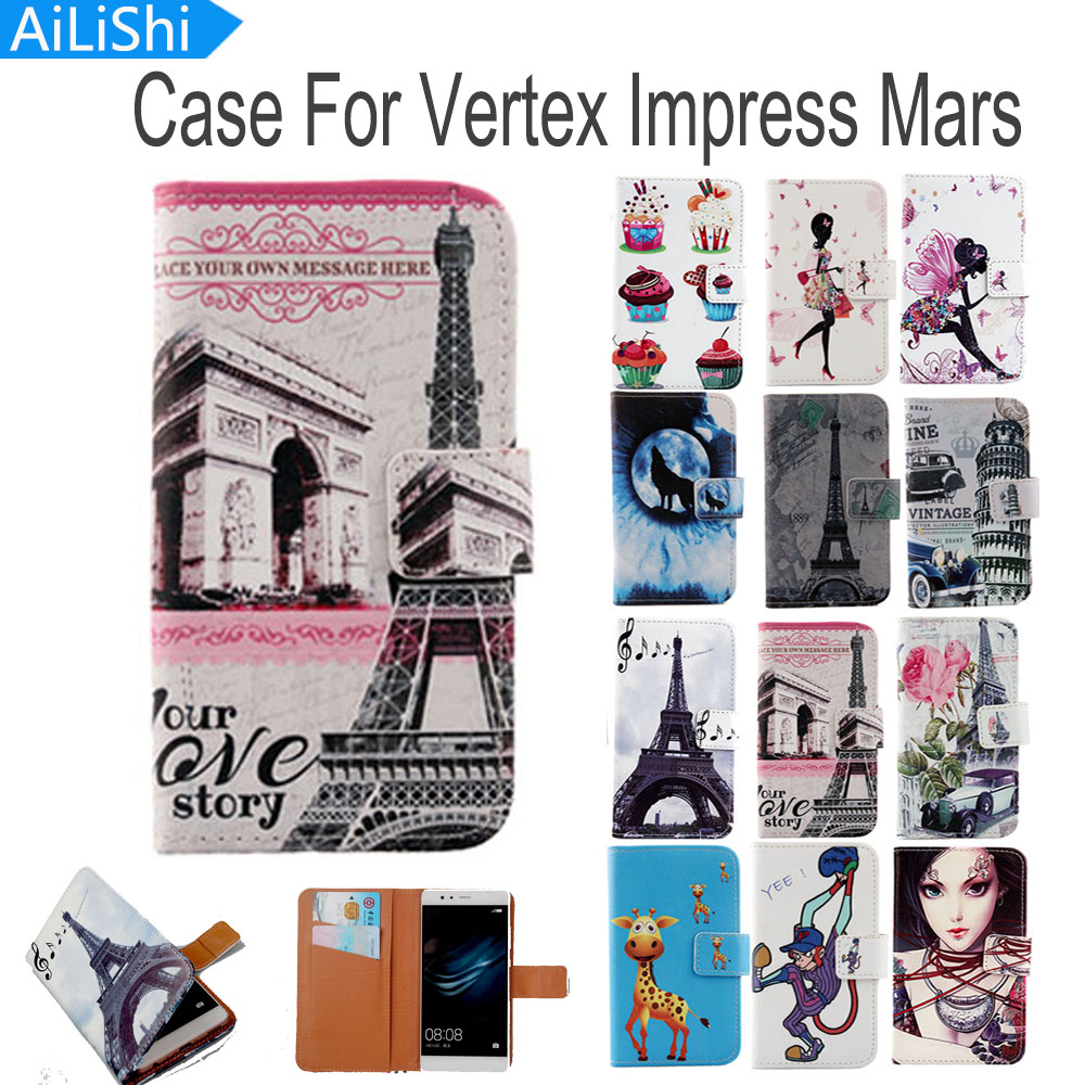 AiLiShi Flip PU Leather Case For Vertex Impress Mars Case Cute Cartoon Painted Protective Cover Skin In Stock