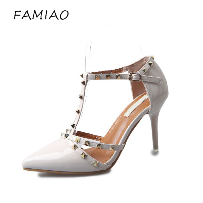 women High-Heeled Shoes Fashion pointed Rivet shoes Wedding Pumps 2017 Spring Valentine square toe Elegant lady Leather shoes siketu 2017 free shipping spring and autumn women shoes fashion sex high heels shoes red wedding shoes pumps g107