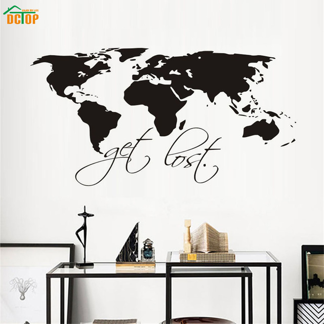 Dctop get lost black world map art wall stickers for living room dctop get lost black world map art wall stickers for living room removable vinyl waterproof wall gumiabroncs Choice Image