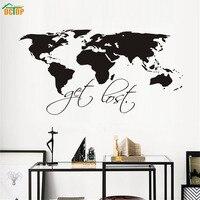 Dctop потеряются черный мир Географические карты Книги по искусству Наклейки на стену для Гостиная съемный Водонепроницаемый Наклейки на сте...
