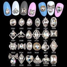 Glitter glass gems Alloy 100pcs 3d nail jewelry bows strass art decorations top quality charms supplies**3501-3524