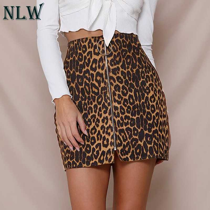 46759fe58d60 ... NLW Satin Leopard Print Metal Skirt Women Sexy Night Clubwear Short  Skirt Midi Waist Zipper Split ...