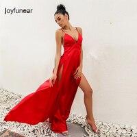 Joyfunear New Arrival Split Maxi Dress Dark Blue Solid Sexy Deep V Neck Evening Party Elegant