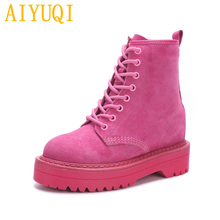AIYUQI נקבה מרטין מגפי 2019 אביב חדש עור אמיתי נשים של נעליים, אופנה עם תחתית עבה קטיפה מגפי נשים
