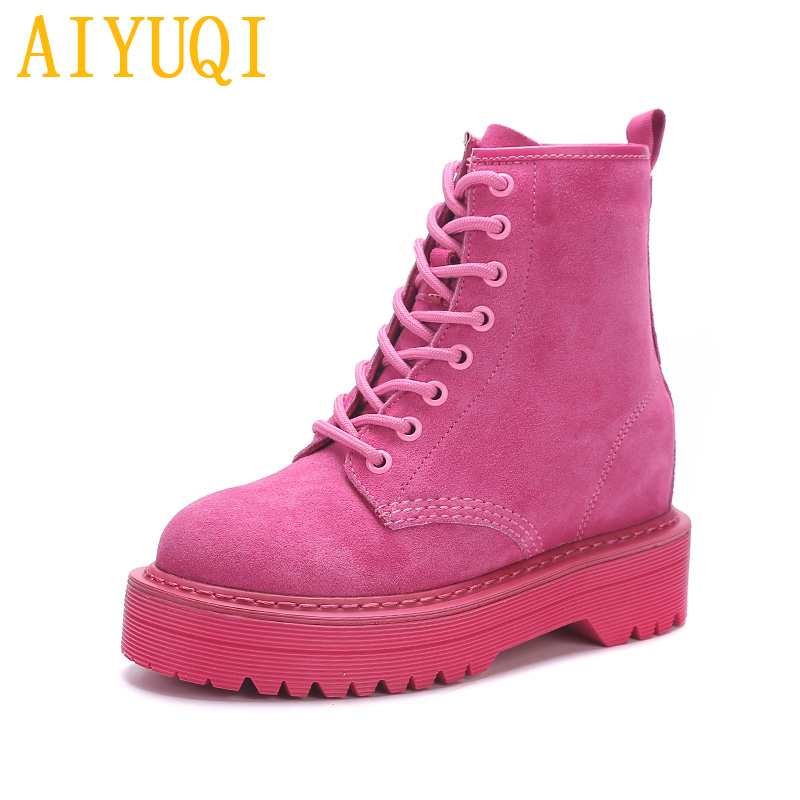 Image 2 - AIYUQI Female Martin boots 2019 spring new genuine leather women's booties, fashion with thick bottom and plush boots women-in Ankle Boots from Shoes