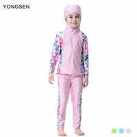 YONGSEN 2018 Burkinis Islamic Girl Full Coverage Maillot De Bain Swimsuit  Hijab Swimwear Modest Women Muslim f8f3dcaca29c