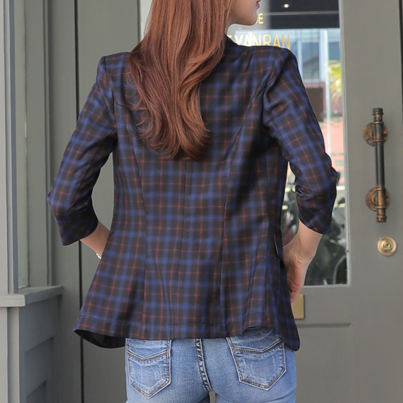 Fmasuth Summer Plaid Blazer Casual Women 3/4 Sleeve Single Button Slim Waist Mujer Femme Elegant Office Bleizer HX-1807