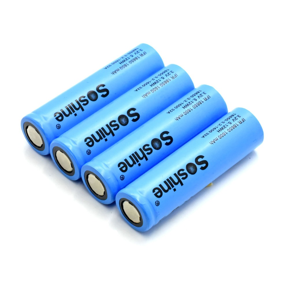Soshine <font><b>18650</b></font> 3.2v 1600mah LiFePo4 High Capacity 32A Rechargeable Battery image