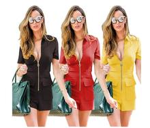 Summer Women Short Sleeve Bodysuit Sexy Front Zipper Jumpsuit Romper Bodycon V-neck Pocket Street Wear