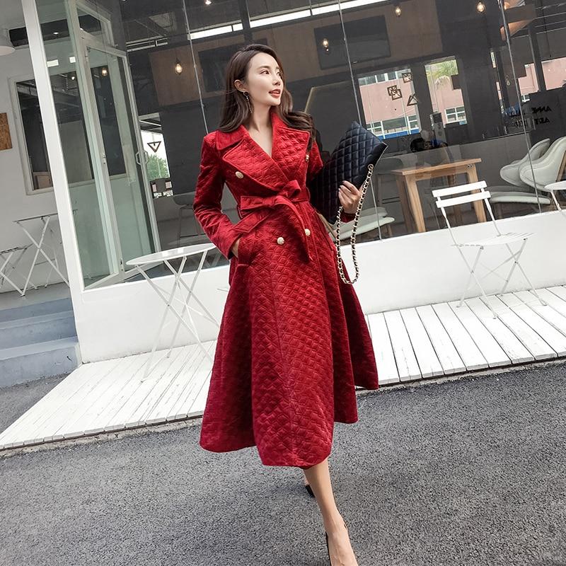 da347996d Invierno Rompevientos Piel Abrigos Terciopelo Feminino Impermeable Mujeres  rojo Negro Casaco Larga Las Chaqueta Para Elegante ...