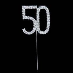 1 шт. креативный декоративный Топпер со стразами для торта на 50-й день рождения, топпер для торта, товары для вечеринки в честь Дня Рождения, у...