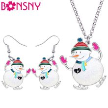 Bonsny Enamel Alloy Christmas Skiing Snowman Jewelry Sets Drop Earrings Necklace Pendant New Year Decoration For Women Girl Gift(China)