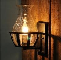 Промышленных настенный светильник Лофт бра кровать Ретро лампа склада балкон Ночные светильники Американский светильник вход Спальня при