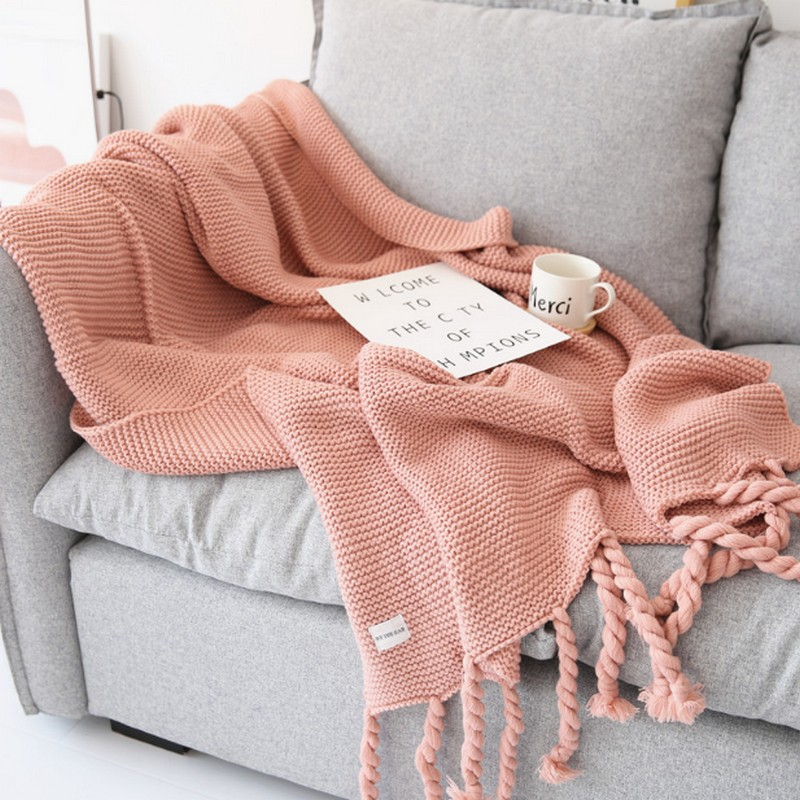 INS NEW Home Decoration Nordic Style Casual Knitted Blankets with Tassel Pink Throw Blankets for Sofa Bed Cover Plaids Bedpread