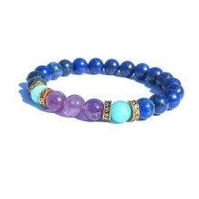 8mm Plating Alloy High Quality Natural Stone Amethyst Tianhe Stone Men and Women Health Bracelet(China)