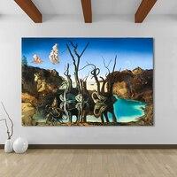 HDARTISAN Arte de la Lona Pintura de Salvador Dalí Cisnes Reflejando Elefantes Pared Pictures For Living Room Decoración Del Hogar Impresa