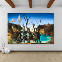 HDARTISAN Canvas Art Salvador Dali Painting Swans Reflecting Elephants Wall Pictures For Living Room Home Decor
