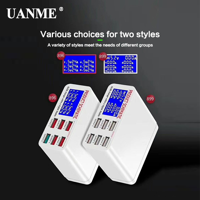 UANME QC3.0 Smart USB Charger LED Display 6 Port Fast Charging For IPhone IPad Samsung Huawei Xiaomi Mobile Phone