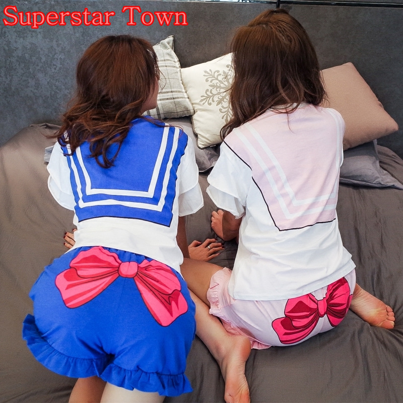 Sailor Moon Cosplay T-shirt T-shirt Անիմե Chibimoon զգեստներ Mori Girl Lolita Sweet Sets Harajuku Japanese Kawaii Հագուստ