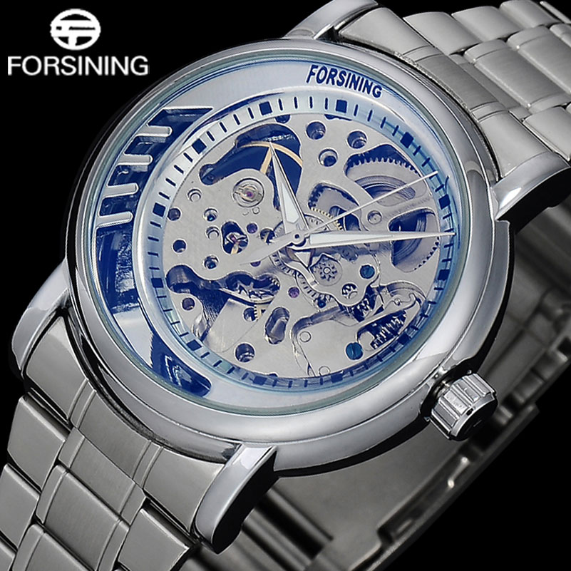 купить FORSINIING Fashion Men Automatic Watches Men's Casual Skeleton Mechanical Wristwatches Stainless Steel Band Relogio Masculino по цене 1178.89 рублей