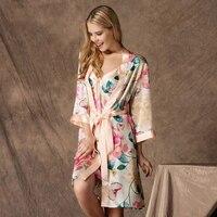 New Arrival Women 100% Mulberry Silk Kimono Robes Sexy Lingerie Female Wedding Party Bridesmaid Robe Silk Nightgown Bathrobe