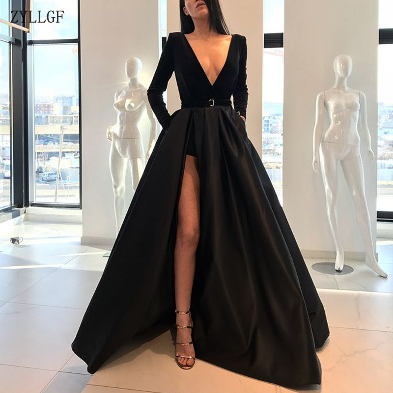 ZYLLGF Sexy Deep V Neck Arabia Prom Party Dress Dubai High Slit Long Sleeves Black Prom Gown MC123