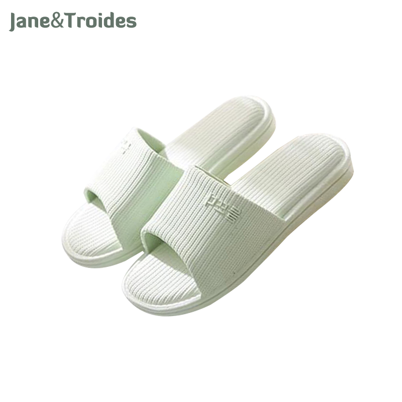 Spring Summer Women Men Slippers Home Bedroom Bathroom Slippers Anti Slip Solid Color Indoor Fashion Couple