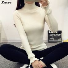 The new winter sweater knit short sleeved shirt thickened slim turtleneck female sleeve head Xnxee