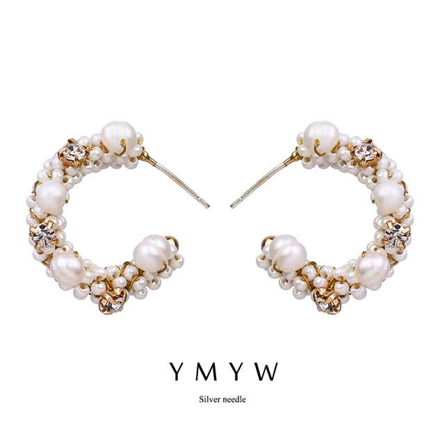 74c0e3a2f4d93 US $3.74 20% OFF|YMYW 2018 Trend Earrings Exquisited Handmade Korean  Romantic Pearls Elegant Stud Earrings C Shape For Ladies Party Wedding  Gift-in ...